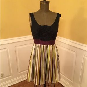 Anthropologie Burlapp Black/Maroon/Striped Dress